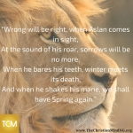 """Wrong will be right, when Aslan comes in sight"