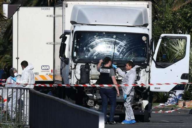 The truck which rammed into a crowd in Nice, France after the driver was killed.