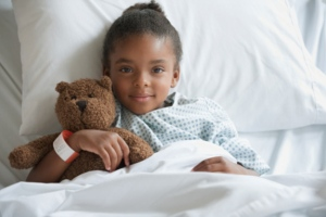 Child on hospital bed